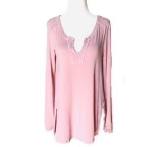 OTHERS FOLLOW XS Pink stretchy Long Sleeve Blouse